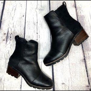 Sorel Cate Black, Block Heel, Leather Booties